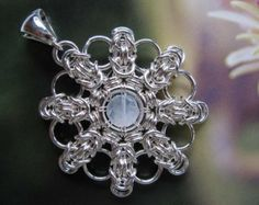chain mail snowflake | ... Silver Medallion Pendant, Moonstone, Round Snowflake Chainmaille