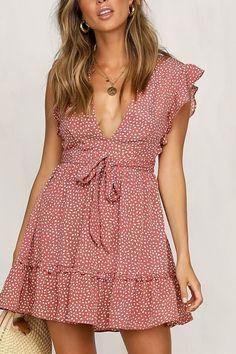 428cb16995d Red Polka Dot Print V Neck Sleeveless Tied Ruffles Trim Sexy Dress #055508  @ Casual