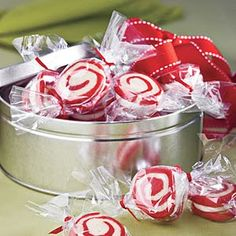 peppermint pinwheel cookies..make smaller size, wrap in cellophane like a peppermint candy!