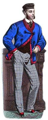 """Along about noon they get out on the street, and we all know from the extrinsic evidence that their street garments are costly, but there are numerous special garments—chamber garments, so to speak—in which these gentlemen are exceeding curious and lavish; and young Dorée, whose life is a monotony of commonplace dissipation, also seeks some slight access of sensation by indulging in chamber luxury. """"Indoor Outfit of a Howling Swell"""" from the Haberdasher, 1889"""