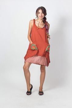 Orange Cotton Women Dress Decorated Shoulder straps and Liner(DR198)/ Summer Dress / Hand Painted Tie Dye / Boho / Hippie by NaniFashion on Etsy https://www.etsy.com/listing/188127020/orange-cotton-women-dress-decorated