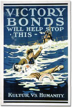 Affiche de guerre - L'emprunt de la victoire : Victory Bonds Will Help Stop This - Kultur vs. Humanity [Canada], [vers 1918]