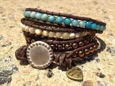 Turquoise Accented Leather Wrap Bracelet by WrapsByJenna on Etsy, $42.00
