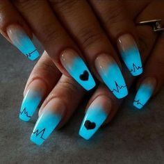 99 Unordinary Fall Nail Art Designs Ideas You Must Try Now & The nails this spring summer 2011 were a real riot of color and this trend, at least in part (the colors are so bright but not garish) will be with us& Cute Acrylic Nail Designs, Simple Nail Art Designs, Blue Nail Designs, Simple Art, Super Simple, Blue Acrylic Nails, Summer Acrylic Nails, Nail Art Blue, Cool Nail Art