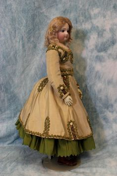 "17"" Antique French Fashion Doll Circa 1870 Swivel Head, Fantastic Dress & boots"