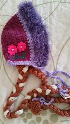 Touca capuz da Princesa Anna do Frozen em crochet.