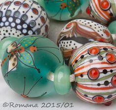 "Artisan Lampwork Beads by Romana - ""Dragonflies"" #ArtisanLampworkBeads"