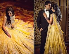 A Yellow Lehenga with Champagne Embroidery by Shantanu & Nikhil for Real Bride Sneha Adnani of WeddingSutra.
