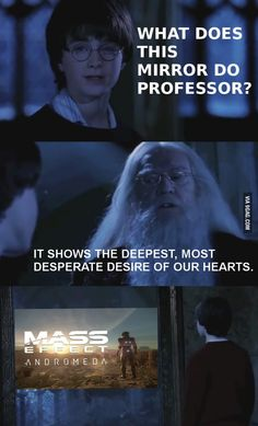 """Mass Effect: Andromeda is """"the deepest, most desperate desire of our hearts""""! :D Mass Effect/Harry Potter humor."""