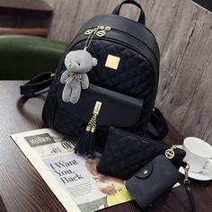 0d7309f227b80 New Arrival 3pcs set Small Bear Pendant Girls Schoolbag PU Tassel Women  Backpack Double Zipper Women Bag Vintage Backpack Bag-in Backpacks from  Luggage ...