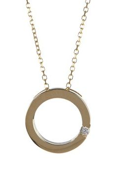 14K Yellow Gold Diamond Accented Cutout Circle Pendant Necklace - 0.03 ctw