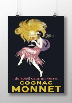 Cognac Monnet Print  Cognac Monnet  Vintage Print   by BelugaStore