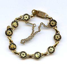 Vtg Damascene Floral Bracelet Gold Tone Dainty Panel Link Safety Chain #Damascene #PanelLink