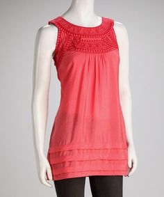 Take a look at this Coral Embroidered Sleeveless Yoke Top by Blue Plate on #zulily today!