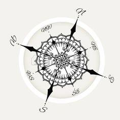 viento gr�fico comp�s dibujados con elementos florales de rosas. ilustraci�n vectorial n�utica se puede utilizar para el dise�o de la p�gina de libro para colorear, plantilla del tatuaje, el estilo de negocios, imprimir en la ropa o de lo contrario. photo