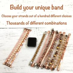 You can now be the owner of a one of a kind smartwatch band that no one else has! Heres how you can order your … Apple Watch Bracelet Band, Apple Watch Bands 42mm, Apple Watch Bands Fashion, Beaded Watches, Rose Gold Apple Watch, Iphone Watch, Apple Watch Accessories, Fashion Watches, Fitbit Charge