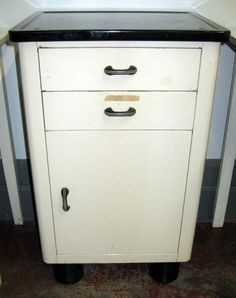 Antique kitchen porcelain top hoosier table cupboard tin flour bin ...