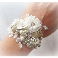 Vintage Style Bridal Cuff Bracelet, Wrist Corsage, Custom Rustic... ($55) ❤ liked on Polyvore featuring jewelry, bracelets, hinged cuff bracelet, pearl bangle, rhinestone bridal jewelry, bracelet bangle and cuff bangle