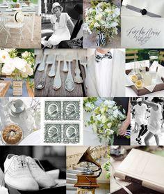 Great board ... love top chair, pharmacy bottle vase, silver flatware, gramophone