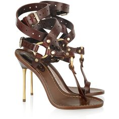 Emilio Pucci Leather T-bar sandals (€555) ❤ liked on Polyvore featuring shoes, sandals, heels, sapatos, zapatos, dark brown, high heel shoes, ankle tie sandals, ankle strap high heel sandals and wrap around ankle sandals