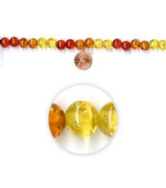 Blue Moon Strung Faux Amber Acrylic Beads,Round,Shades of Amber,Crackle