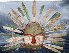 Masque Kodiak d'Alaska, au musée du quai Branly