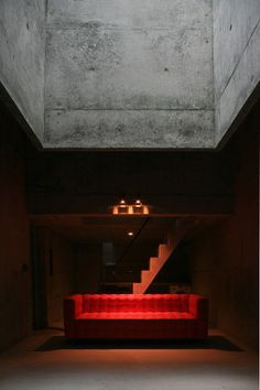 The lighting makes the bench look like a stage! Ryusenji House by Tomoaki Uno Architects