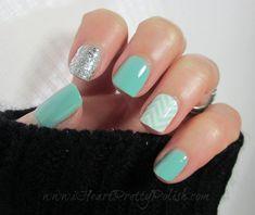 Spring Chevron & Turquoise #nails #nailart