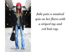 via StyleList - flared jeans with a nautical spin