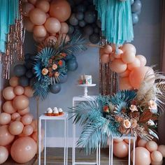to die for peach and teal balloon garland and streamer party display with painted foliage. Balloon Decorations Party, Birthday Party Decorations, Party Themes, Wedding Decorations, Birthday Parties, Baby Shower Centerpieces, Baby Shower Favors, Bridal Shower, Balloon Backdrop