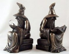 Pair Bronze Wizard Bookends Merlin The Sorcerer. Free Shipping in Home & Garden, Home Décor, Other Home Décor | eBay