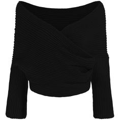 SheIn(sheinside) Black Off the Shoulder Crop Knit Sweater ($20) ❤ liked on Polyvore featuring tops, sweaters, shirts, black, black cropped sweater, knit sweater, off shoulder sweater, black sweater and long sleeve pullover