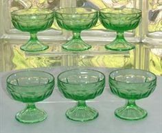 Six 30's Green Depression Glass Sherbets