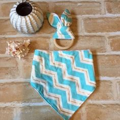 0-6 Month Boutique Baby Bib & Eco Teether Gift Set, Gift Pack - Aqua & Gold Chevron