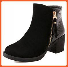 Summerwhisper Women's Trendy Faux Suede Splicing Round Toe Side Zipper Block Medium Heel Ankle Booties Black 6.5 B(M) US - Boots for women (*Amazon Partner-Link)