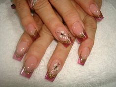 ♥ Acrylics - Red/Gold Glass