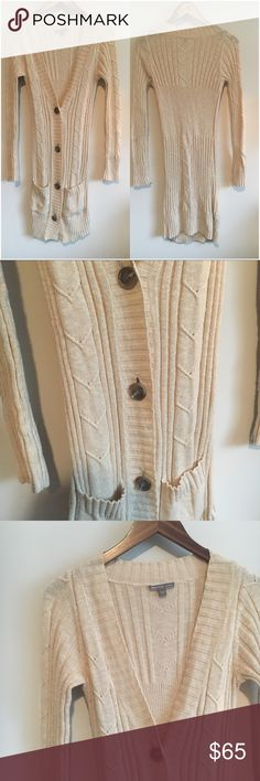 James Perse Long Cable Sweater Cardigan James Perse Long Cable Sweater Cardigan Size 1 Keep comfy and warm while still looking g fashionable on this button front long Cable knit cardigan by James Perse. James Perse Sweaters Cardigans
