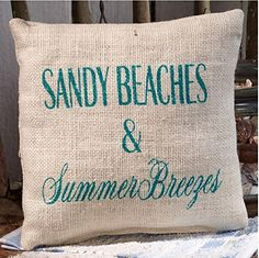Sandy Beaches and Summer Breezes - Burlap Accent Pillow - 8-in x 8-in