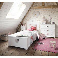 Heart shaped cutouts add a sweet feminine touch to teen, tween, and toddler girls bedroom furniture. Shabby Chic Girl Room, Shabby Chic Bedrooms, Baby Bedroom, Girls Bedroom, Budget Bedroom, Bedroom Ideas, Pine Chests, Princess Room, Childrens Beds