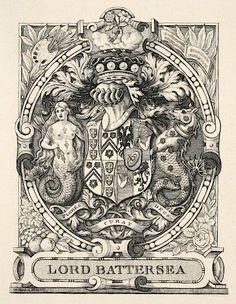 EX LIBRIS: Antique Book Plates : Flores Curat Deus (God Takes Care of the Flowers). Ex Libris for Lord Battersea at Davidson Galleries