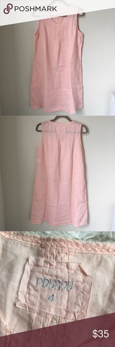 NWOT Pou Nou Linen Dress With Pockets Size 4 Pou Nou Linen Dress. Very light weight and some what see through, would recommend a slip. Has pockets on each side. Bought in Spain. Armpit to armpit about 20in length about 38in down the back. Pale pink color. NWOT Pou Nou Dresses