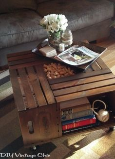 pretty table, made of crates