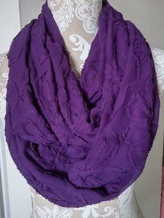Purple Chiffon Ribbon Infinity Scarf Women by ScarvesBuySharon