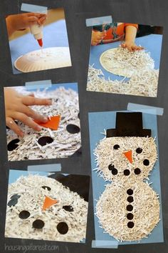 A simple snowman to make for the youngest of hands to the oldest.  Supplies: White glue, paper plates in 1 or 2 sizes, shredded white paper, enough construction paper to precut black hats, buttons, & carrot noses for number of snowmen anticipated (plus a few extra). Follow along pictures shown & voila!, a Snowman is made.