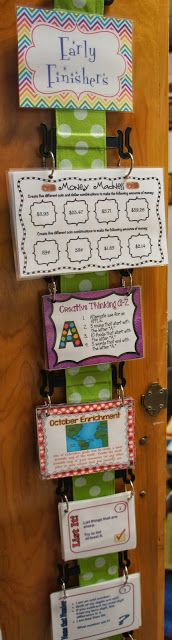 "Early Finisher Task Cards ~ ""I have my flipflop holder hanging on a hook on a cabinet door in my classroom. I punched a set of holes in each task cards and hooked then together with a ring. I then placed the rings on the notches on the flip flop holder. 3rd Grade Classroom, Classroom Behavior, School Classroom, Classroom Activities, Classroom Ideas, Future Classroom, Anchor Activities, It Management, Classroom Management"
