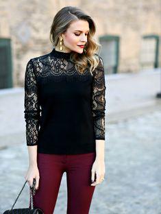 Lace Sweater + Statement Earrings