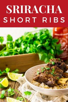 Braised Sriracha Short Ribs (With Oven and Slow Cooker Directions) - Burrata and Bubbles Best Beef Recipes, Rib Recipes, Slow Cooker Recipes, Vegetarian Recipes, Oven Recipes, Kitchen Recipes, Crockpot Recipes, Dinner Party Recipes, Beef Recipes For Dinner