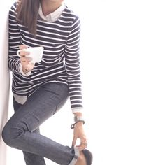 stripes, blouse, cuffed jeans