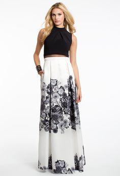 Mock Neck Floral Print Popover Dress #camillelavie