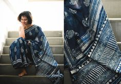 Ideal for summers but an absolute essential throughout the seasons, our finest range of handwoven, Cotton Sarees are available in every elegant style and pattern. Indigo Saree, Blue Saree, Indian Attire, Indian Wear, Beautiful Saree, Beautiful Outfits, Modern Saree, Simple Sarees, Blouse Models